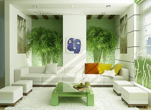 desain interior ruang keluarga dengan warna dominan putih