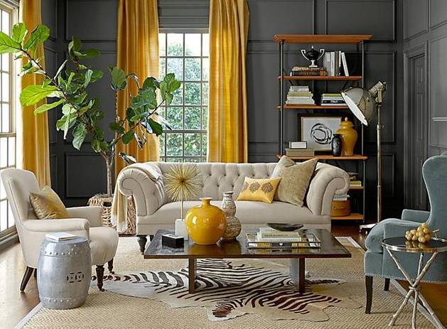 ide ruang keluarga dengan sentuhan alam fresh